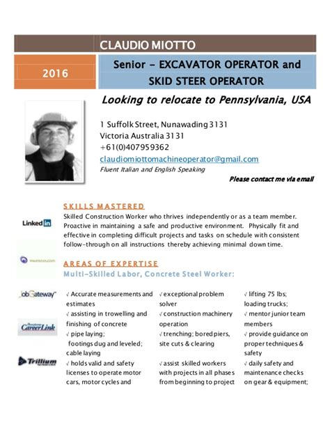Free Sle Resume Heavy Equipment Operator Heavy Equipment Operator Resume 2016
