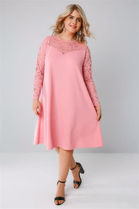 pink swing dresses candy pink swing dress with lace yoke sleeves plus size