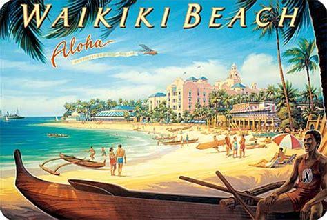 aloha party boat chicago hawaiian vintage postcard waikiki beach kerne erickson