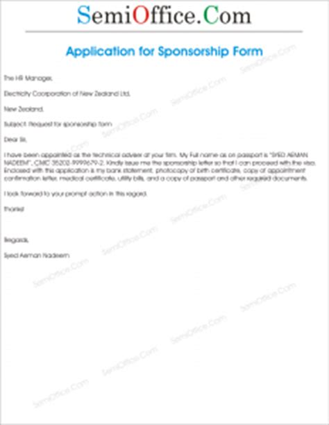 Sponsorship Query Letter Request Letter For Sponsorship Form