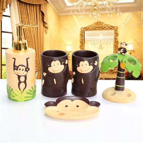 Monkey Bathroom Accessories Monkey Bathroom Accessories Mainstays Monkey 4 Bath Accessories Set Walmart Shop Popular
