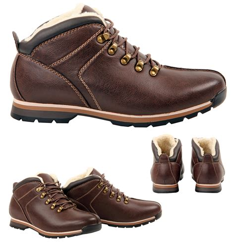 mens winter fur boots mens boys casual fur lined lace up winter ankle brown