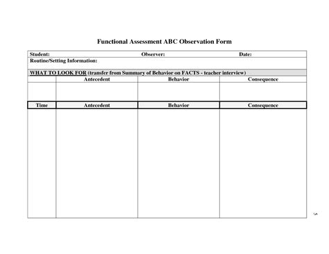 functional assessment observation form template search results for behavior observation checklist