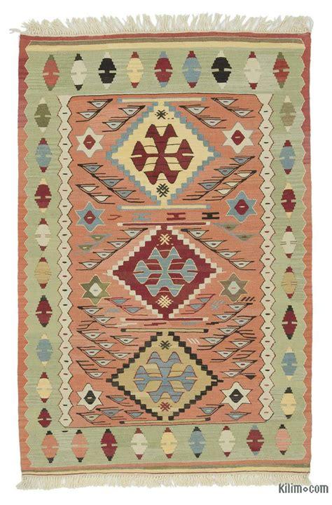 kilim turkish rug k0020801 orange green new turkish kilim rug