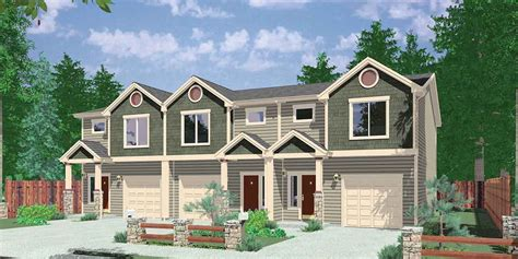 triplex house plans plan 38027lb triplex house plan with 3 bedroom units bedrooms house and car garage