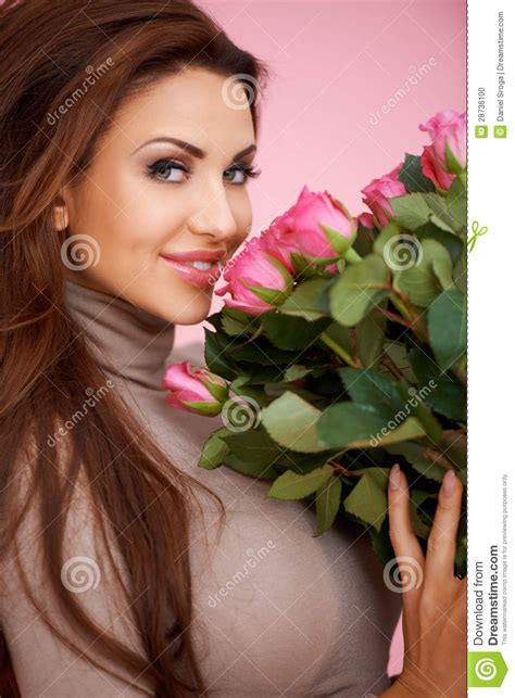beautiful lady beautiful seductive woman with roses stock photo image