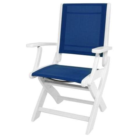 Blue Sling Patio Chair Polywood White Royal Blue Sling Coastal Patio Folding Chair 9000 Wh905 The Home Depot