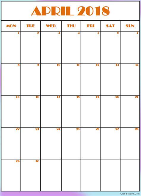 printable calendar editable 2018 printable april 2018 calendar editable template