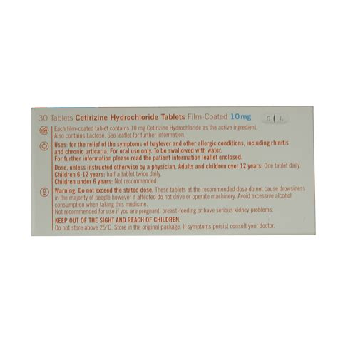 Obat Cetirizine Hcl 10mg 10mg generic cetirizine hayfever allergy relief 3 x 30