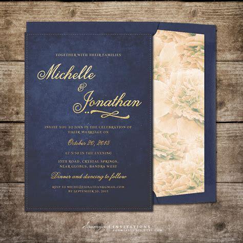 navy blue and gold wedding invitations navy blue and gold wedding invitation by soumyasinvitations