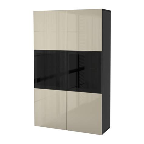 besta beige best 197 storage combination w glass doors black brown
