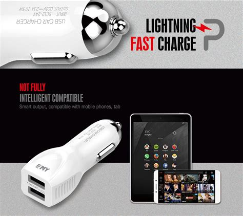 Car Charger Emy My 131 2 Port Usb Fast 3 4 With Usb Lightning Cabl buy emy selling universal dual usb portable my112 car charger 5v 2 4a at best price
