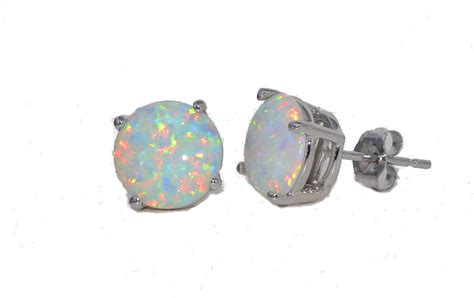 white opal earrings opal stud earrings white gold quality