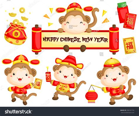 new year 2016 monkey masks monkey in new year costume stock vector