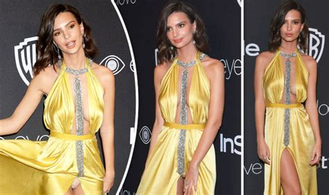 golden globes 2017 emily ratajkowski flashes knickers in