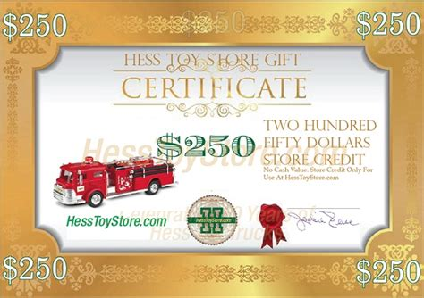 Hess Gift Cards - hess gift certificate 250 jackie s toy store