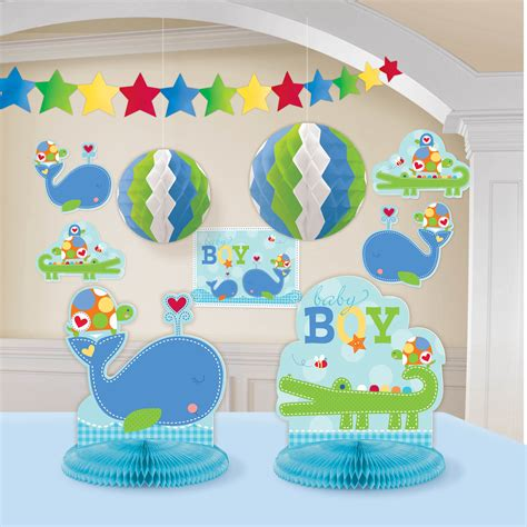 Baby Shower Decoration Kits by Ahoy Baby Room Decorating Kit Blue Boy Shower Birthday Supplies Ebay