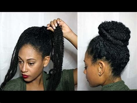 markey hair bun style natural textured bun w marley braiding hair youtube
