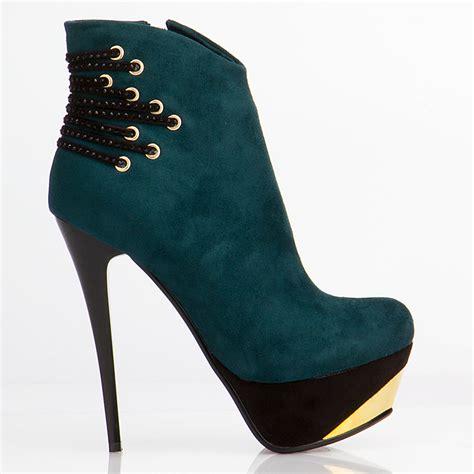 vintage high heel platform ankle boots suede