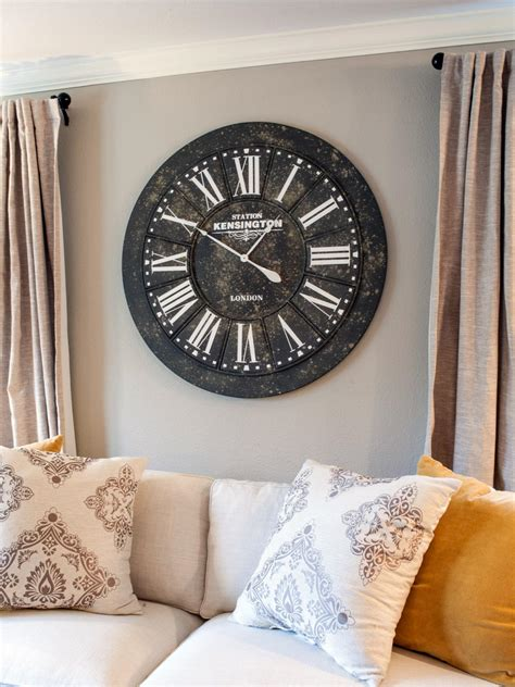 living room wall clock decorate behind the sofa diy network blog made remade