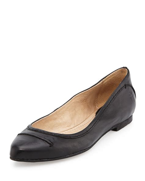 frye flat shoes frye olive leather ballet flats in black lyst