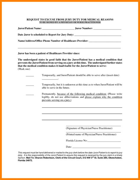 Jury Duty Excuse Letter Qld jury duty excuse letter sle from doctor docoments