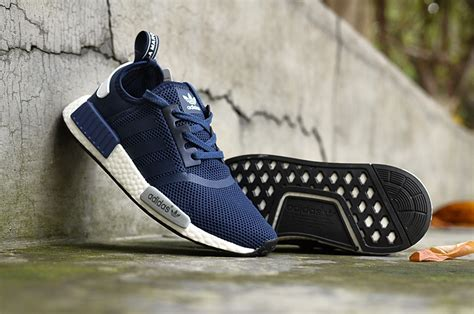 sale adidas nmd r1 runner navy blue grey white s s casual sneakers shoes