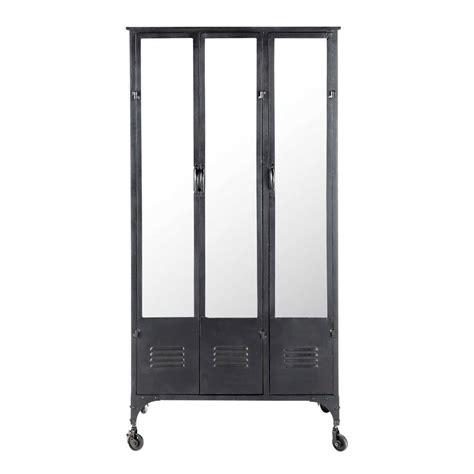guardaroba tv guardaroba nero stile industriale a rotelle in metallo l