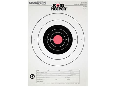 printable targets midway chion score keeper 25 yard slow fire pistol target 11 x