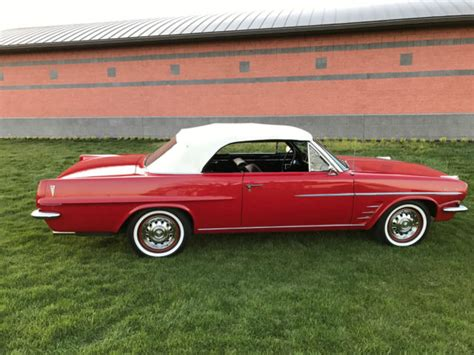 1963 pontiac lemans convertible 326 v8 with 3 speed manual trans red for sale pontiac le