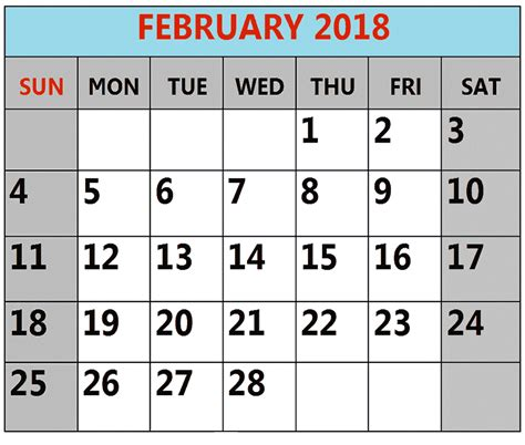 South Africa Calend 2018 February 2018 Calendar South Africa Printable Templates