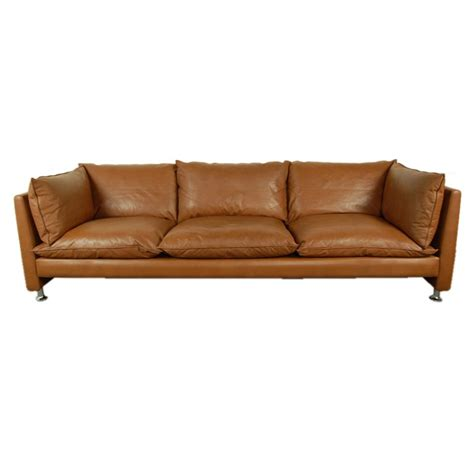 vintage swedish mid century modern leather sofa at