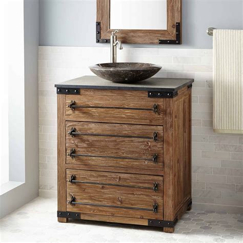 wood vanity 30 quot bonner reclaimed wood vessel sink vanity pine