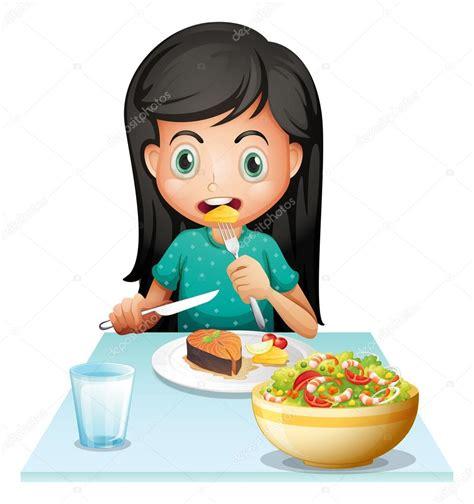 imagenes animadas almorzando una ni 241 a comiendo su almuerzo vector de stock