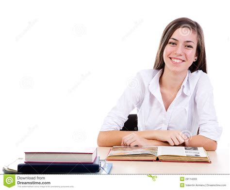Student At Desk Stock Image Image Of University Student Sitting At Desk