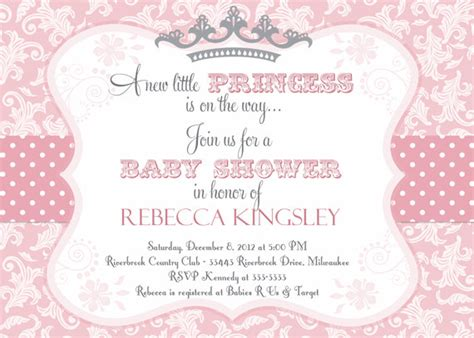 Free Princess Baby Shower Invitation Templates princess baby shower invitation pink damask by partypopinvites