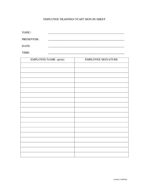 employee sign in sheet template free employee sign sheet pictures to pin on