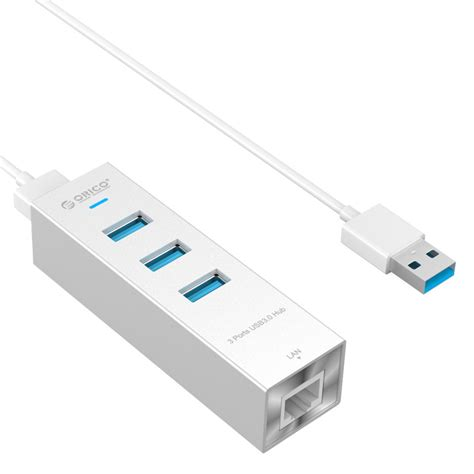 Usb3 0 Gigabit Ethernet With Hub orico aluminum 3 port usb3 0 to rj45 gigabit ethernet
