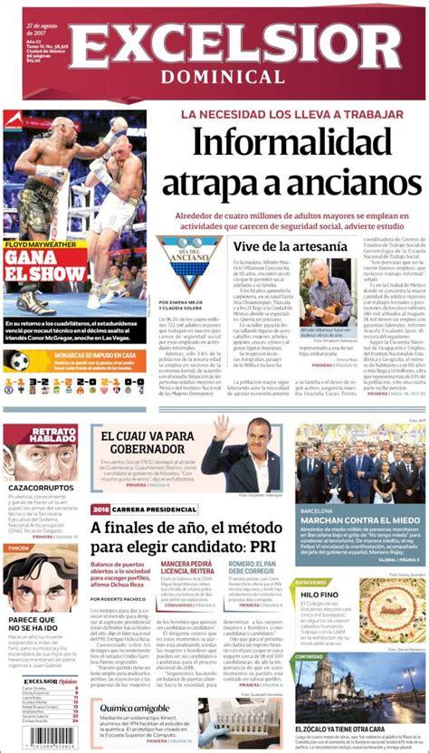 excelsior 20 de agosto portadas de la prensa internacional del domingo 27 de