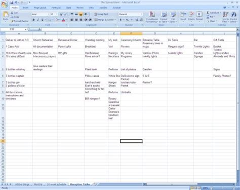 list of things i need for a wedding all the things organization by spreadsheet weddingbee