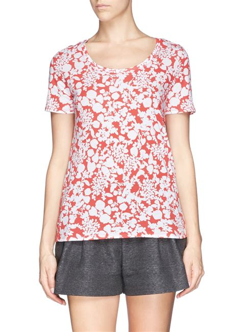 Ester Shirt lyst burch ester floral print pima cotton t shirt in