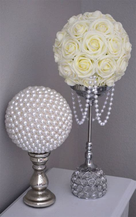 IVORY Flower Ball With DRAPING PEARLS. Wedding by