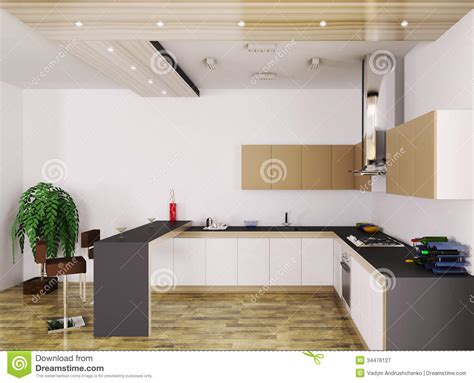 modern kitchen interior 3d rendering modern kitchen interior 3d royalty free stock photography