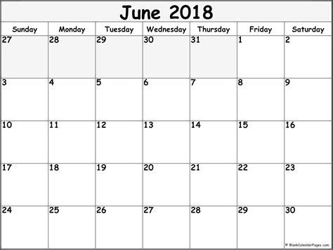 Galerry printable blank monthly calendar june 2018