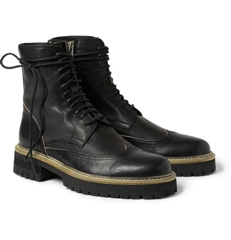 bottom boots for demeulemeester chunky sole leather boots in black for