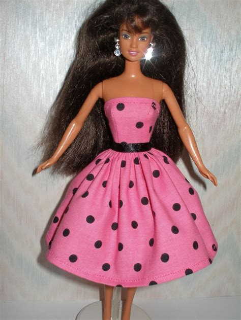 Handmade Dolls Clothes - handmade doll clothes pink and black polka dot dress