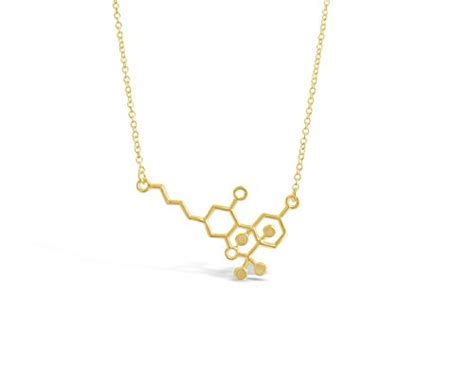 Geeky But Almost Cool Jewelry Shaped Like Molecules by Thc Molecule Necklace Cannabis Molecule Geeky Gift