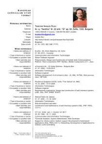 European Curriculum Vitae Format by Current General Cv