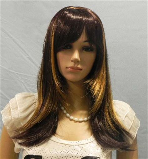 brown with blonde highlights wig medium long layered wig brown with blonde highlights wig