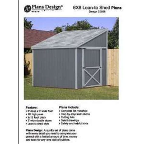 6x10 Lean To Shed Storage Shed Plans Lean To Roof Style 6 X 10 Plans On